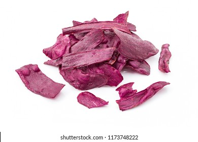 Fried purple sweet potato chips as health snacks isolated on white background. Selective focus, Horizontal image.