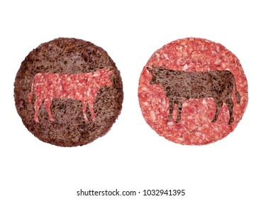 Fried and raw fresh large beef burger cow shape on white background