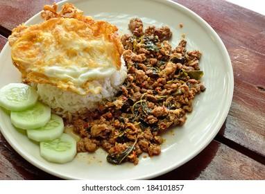 Fried rice with basil, chili and pork (Khao Pad Kra Pao Moo) / Thai Spicy Food