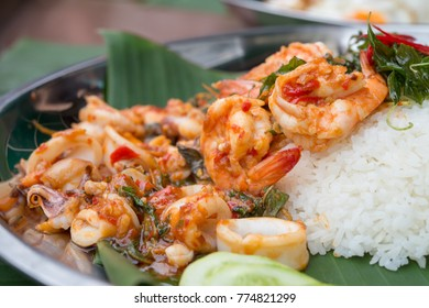 fried rice with basil and shrimp