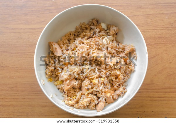 Fried rice in a bowl with the top view style