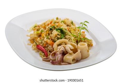 Fried rice with calamari - asian food
