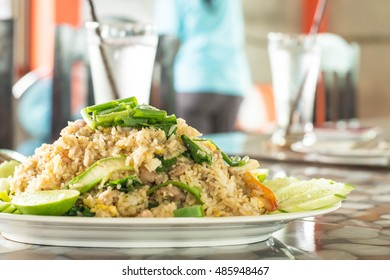 Fried rice on a plate in a restaurant
