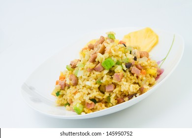 Fried rice with pineapple and ham