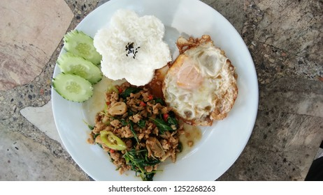 Fried rice with pork basil Another menu of Thailand food.