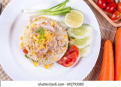 Fried Rice With Pork Top View