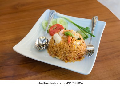 fried rice with seafood in Thai style