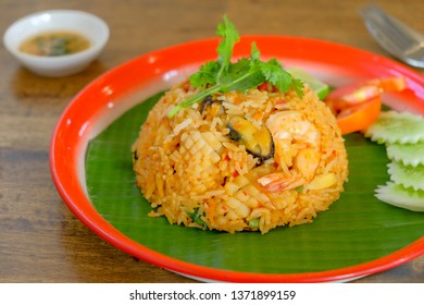 Fried rice with thai tom yum seafood