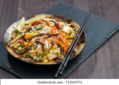 fried rice with tofu, vegetables, horizontal