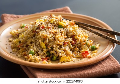 Fried Rice with Vegetables and fried eggs - Chinese Cuisine