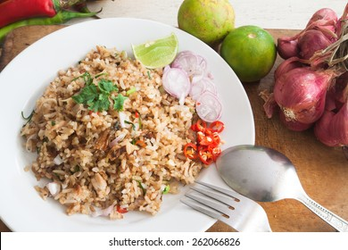 Fried rice with vegetables, herb and ingredients in Thai cuisine