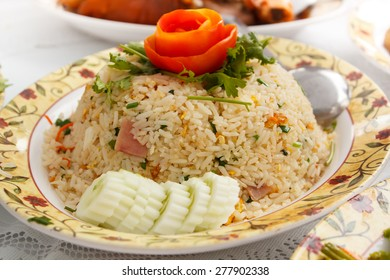 fried rice and vegetables at restaurant, thai style.