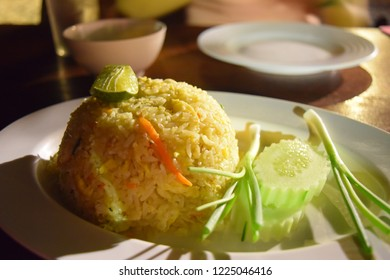 fried rice yellow. The light on corner of fried rice.
