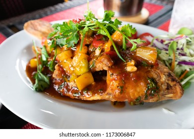 Fried Ruby Fish Topped with sauce