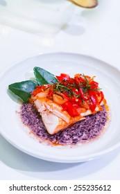 Fried Salmon on Coarse Rice