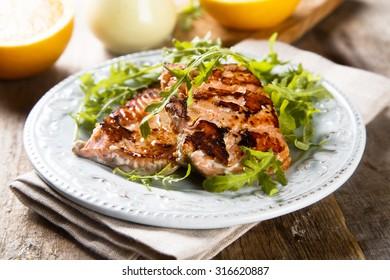 Fried salmon with orange