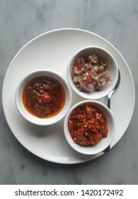 Fried sambal, sambal matah and sambal bawang