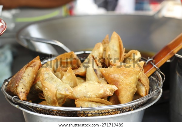 fried samosa in local market
