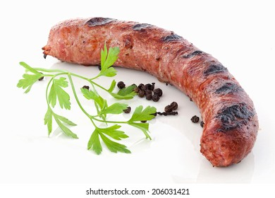 Fried sausage on white background