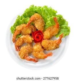Fried shrimp ball on white background.
