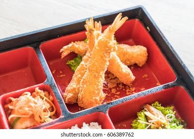 fried shrimp in bento set - japanese food style