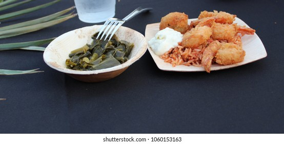 fried shrimp with collard greens