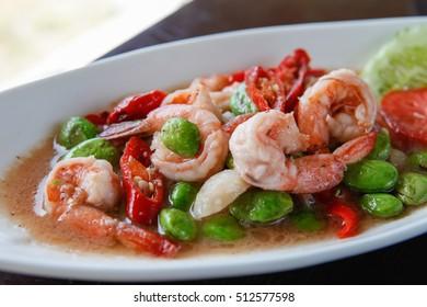 Fried shrimp and shrimp paste with Parkia Speciosa, Native Thai food.