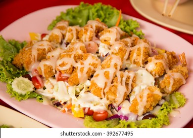 fried shrimp salad cream with mixed vegetable