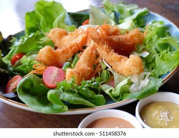 Fried Shrimp Salad on white background