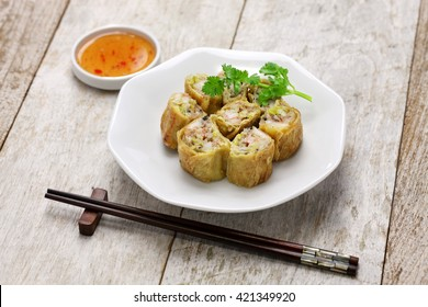 fried shrimp tofu ( bean curd ) skin rolls, chinese dim sum food
