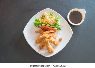 fried shrimp with tonkatsu sauce - japanese  food style