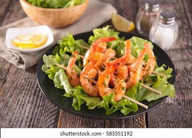 fried shrimp,skewer