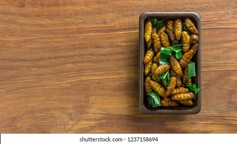 Fried silkworm insect on the food container on the wooden table with copy space. Concepts for edible insects contributing to food security and food revolution. Top view, Selective focus.