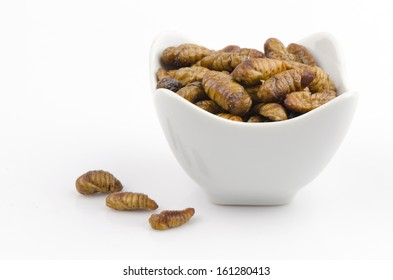 fried silkworms. foods with nutritious ingredients, particularly in the energy, protein, fat and minerals.