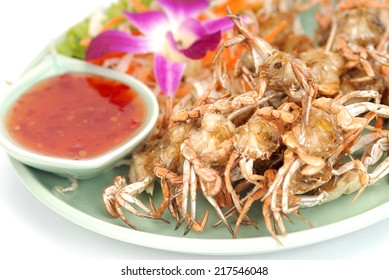The Fried soft shell crab with garlic,Fried crab