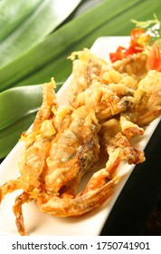Fried soft shell crab on white plate