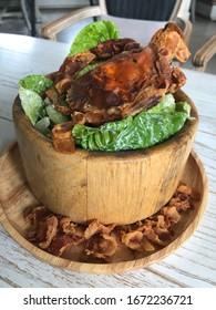 Fried soft shell crab salad