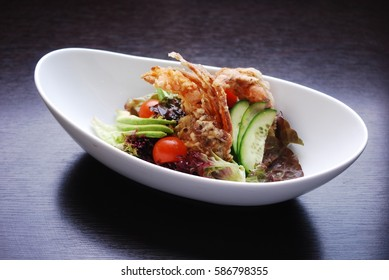 fried soft shell crab salad