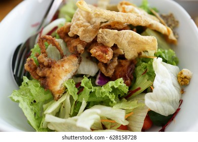 Fried soft shell crab and salmon skin salad, Japanese cuisine