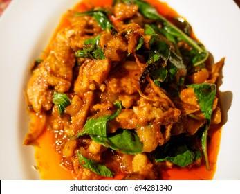 Fried spicy boar