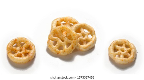 Fried and Spicy wheel Snacks or Fryums (Snacks Pellets) Isolated White background. selective focus - Image