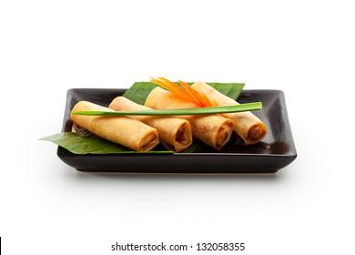 Fried Spring Rolls on Black Dish