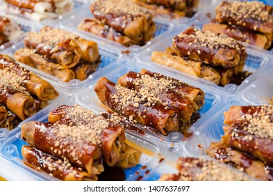 Fried spring rolls or Popiah is a famous Malaysian traditional street food with selective focus
