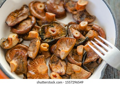 Fried Spruce Milk Cap mushrooms in frying pan on the wooden table,close up,top view.