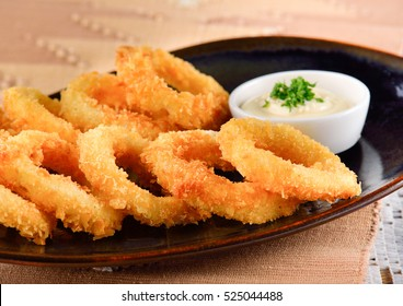 fried squid rings breaded