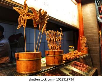 Fried starfish in Chinese Restaurant.
