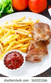 Fried steak with french fries