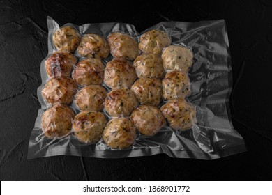 Fried and stewed meatballs, ready to eat, vacuum packed. Semi-finished product for restaurant and home. Food delivery.
