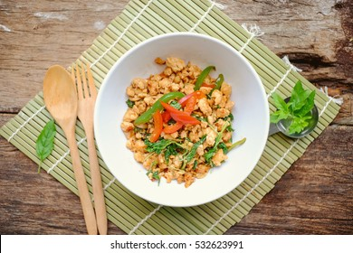 Fried Stir Thai Basil and chili with Minced chicken breast  in bowl .Thai delicious spicy food