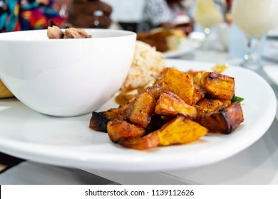 Fried Sweet Plantains. Ripe fried plantain - local banana served for jollof rice and meat sauce in Nigeria, Ghana or Guatemala